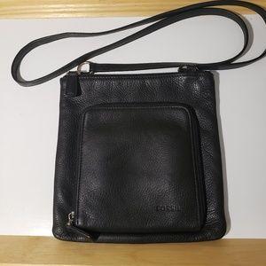Fossil crossbody black leather bag